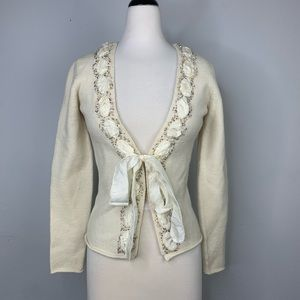 Anthropologie Sleeping On Snow Beaded Cardigan